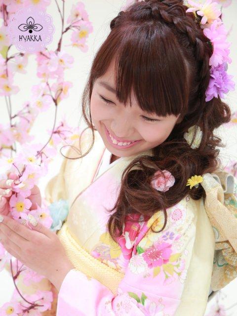 #007.満開のHana!花!ハナ!なイエロー&ピンクのハッピー振袖